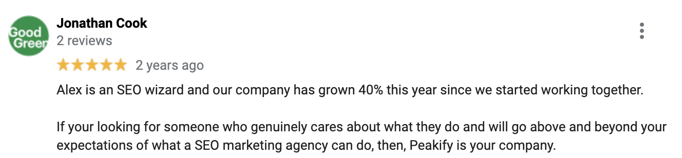 google review for peakify marketing